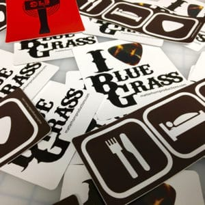 Stack of bluegrass fan decals