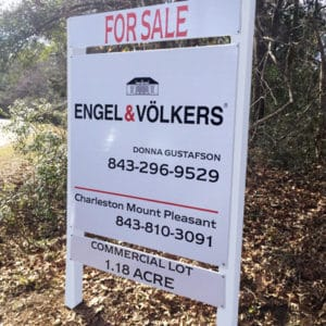 4x4 foot commercial real estate sign promoting lot for sale for Engel & Volkers