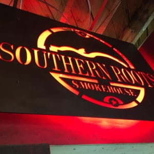 Southern Roots North Charleston exterior routed metal sign